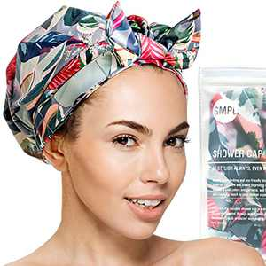 Reusable Shower Cap for Women-Waterproof Turban Shower Cap for Women Long Hair - Tropical leaves and flowers