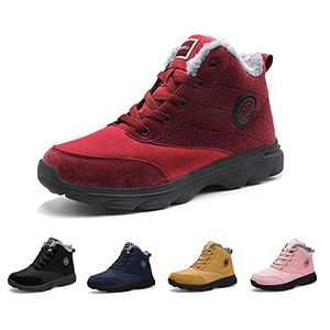 BenSorts Womens Snow Boots Fur Lined Anti-Slip Warm Winter Boots Outdoor Ankle Short Booties Red Size 8
