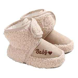 TMEOG Baby Girls Boots Winter Toddler First Walkers Velcro Baby Boots Round Toe Flats Soft Cozy Shoes Khaki