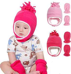Toddler Boy Girls Fleece Hat Warm Earflap Kids Caps Winter Hat and Mitten Set for Baby