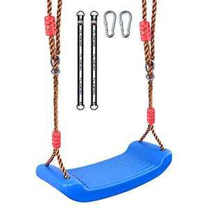"Funlove Durable & Lightweight Plastic Swing Set - Ninja line Ready, Non Slip Tree Swing Seat for Children Adults with 17.7"" Adjustable Tree Hanging Straps & Locking Carabiner, Blue"