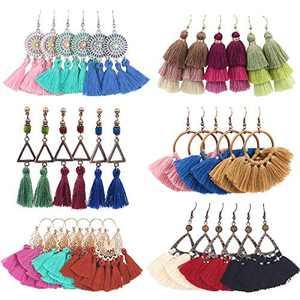 Pollenzic 18 Pairs Bohemian Tassel Earrings Set Colorful Long Layered Dangle Tassel Earrings,For Women Girls Valentine Birthday Party Gift Statement Earrings