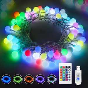 USB Powered Globe String Lights, Correare 26Ft 60 LED RGB String Lights with Remote Timer & Memory Function for Patio Garden Backyard Party Wedding Christmas Holiday Indoor Outdoor Decoration Lights