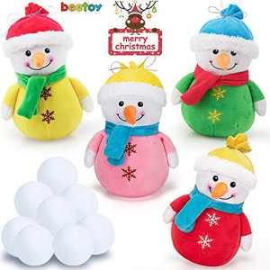 4 PCS Hot Christmas Plush Toys, Soft Plush Stuffed Snowman with 10 PCS Snowball, Festive Decoration Indoor Snowball Fight Set 15 Inches