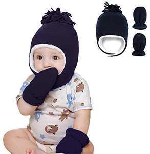 Urban Virgin Baby Girls Boys Fleece Hat Warm Earflap Newborn Kids Caps Winter Hat and Mitten Set 3-12 Months Navy Blue