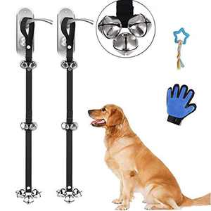ETZ 2 Packs of Dog Doorbells,Used for Pet Training,Easy Way Adjustable,Large Pleasant Sounding Bells,Thick Durable Adjustable Strap Door Bell,Comes with a Pet Toy and Pet Dehairing Gloves