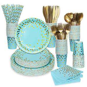 Blue and Gold Party Supplies, 400PCS/Serves 50 Disposable Party Dinnerware Set, Blue Paper Dinner Plates Napkins, Gold Plastic Fork Knives Spoon for Birthday Baby Shower Winter Wonderland Christmas