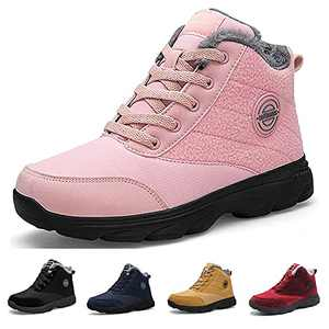 BenSorts Winter Boots for Womens Fur Lined Anti-Slip Snow Booties Warm Outdoor Ankle Boots Pink Size 8.5