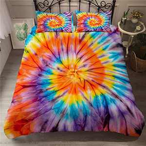 ZEIMON Colorful Bedding Tie Dyed Duvet Cover Set Luxury Blue Yellow Spiral Psychedelic Pattern Boho Hippie Bedding Sets Boys Girls 1 Duvet Cover with 2 Pillowcases (Style 2,Queen)