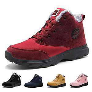 BenSorts Womens Snow Boots Fur Lined Anti-Slip Warm Winter Boots Outdoor Ankle Booties Red Size 8.5