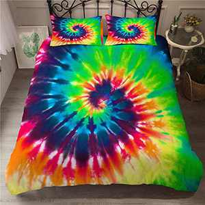 ZEIMON Colorful Bedding Tie Dyed Duvet Cover Set Luxury Blue Yellow Spiral Psychedelic Pattern Boho Hippie Bedding Sets Boys Girls 1 Duvet Cover with 2 Pillowcases (Style 1,King)