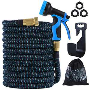 """PARAIN Expandable 75 ft Garden Hose- Lightweight No Kink 3750D Fabric- 9 Functions Spray Nozzle- Leakproof 3 Layers Natural Latex- 3/4"""" Solid Brass- Flexible Pocket Water Hose Set"""