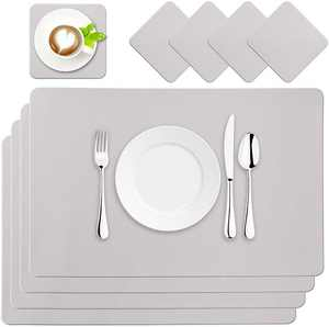 BaoWnylz Placemats PU Leather Place Mats Grey Set of 4 Washable Waterproof Table Mats 45x30cm and Leather Coasters, Suitable for Kitchen Tables Restaurants and Hotels