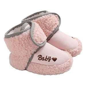 TMEOG Baby Girls Boots Winter Toddler First Walkers Velcro Baby Boots Round Toe Flats Soft Cozy Shoes Pink