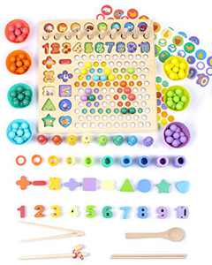 UNIH Baby Einstein Toys, Wooden Number Shape Puzzle Montessori Toys Fishing Game Shape, Bead Sorting Counting Stacking Math Stacking Block, Preschool Educational Learning Toys for Kids Toddlers