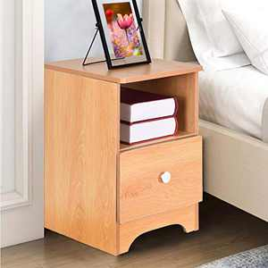 Nightstand with Drawer Bedside Furniture & Night Stand End Table Storage Cabinet Dresser for Home, Bedroom Accessories (Nordic Pine Color)