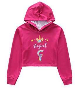 Girls Mermaid Crop Top Hoodie Long Sleeve Sweatshirts Cropped Pullover Unicorn 10t 11t