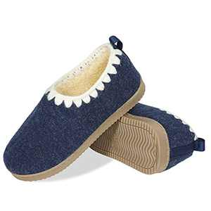 Gumusservi Women's Cozy Memory Foam Slippers with Hand Crocheted Collar and Anti-Skid Rubber Sole for Comfy Indoor Outdoor House Shoes Moccasins(Navy, size10)