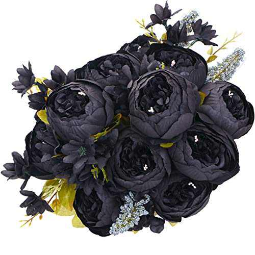 ANWBROAD Artificial Peony Silk Flowers Real Touch Fake Flowers Bouquets Wedding Home Party 2PCS Realistic Silk Peonies Flowers Table Centerpieces Decorations Black ULAF001B