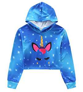 Girls Unicorn Sweatshirt Long Sleeve Cropped Pullover Crop Top Hoodie 10t 11t