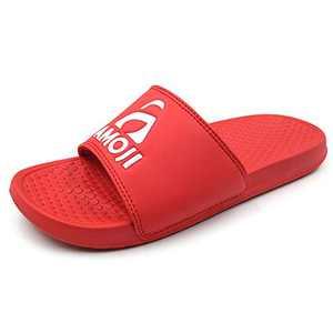 Amoji Men's Slide Sandals Women's Beach Slide Shoes Sport Slip On Sandal Athletic Rubber Sandals Flip Flops Shower Shoes Comfortable Summer House Slippers SS1801 Red Size 8 Women/6 Men