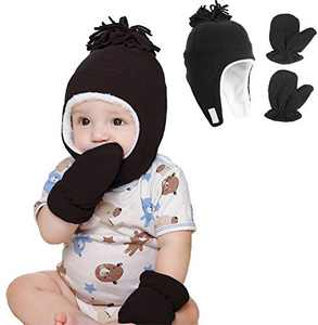 Toddler Boy Girls Fleece Hat Warm Earflap Kids Caps Winter Hat and Mitten Set for Baby