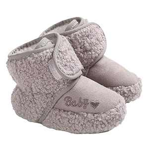 TMEOG Baby Girls Boots Winter Toddler First Walkers Velcro Baby Boots Round Toe Flats Soft Cozy Shoes Grey