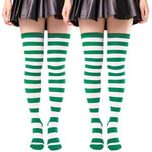 2 Pairs Thigh High Socks for Women Striped Cotton Knit Over the Knee High Stockings Long Tube Leg Warmers