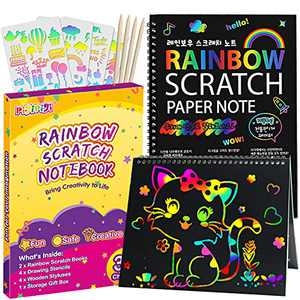 pigipigi Rainbow Scratch Paper for Kids - 2 Pack Scratch Off Notebooks Arts Crafts Supplies Kits Drawing Paper Black Magic Sheets Scratch Pad Activity Toy for Girls Boys Game Christmas Birthday Gift