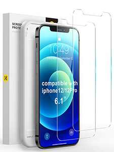 YOUMIXX Compatible with iPhone 12 Screen Protector/iPhone 12 Pro Screen Protector, 【Military Grade Shatterproof】Tempered Glass Screen Protector for iPhone 12, iPhone 12 Pro 6.1''-2 Pack