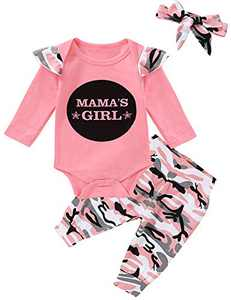 Truly One Baby Girl Mama's Girls Bodysuit Infant Camouflage Romper with Headband (Pink,3-6 Months)