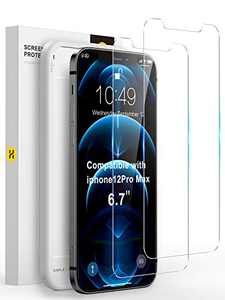 Youmixx Compatible with iPhone 12 Pro Max Screen Protector, 【Military Grade Shatterproof】 Tempered Glass Screen Protector for iPhone 12 Pro Max 6.7''-2 Pack