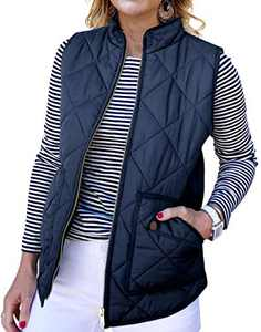 NENONA Women's Lightweight Diamond Quilted Puffer Vest Coat Winter Casual Zip Up Padded Outwear with Pockets(Dark Blue-XS)