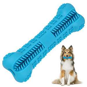 Ufanore Dog Chew Toys for Non-Aggressive Chewers with Non-Toxic & Food-Grade Silicone Material, More Attractive Bone-Shaped Dog Toothbrush Toys for Dental Care & Training for Most Dogs (Blue, Small)