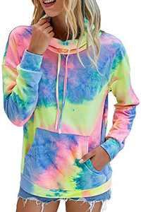 Minipeach Women's Long Sleeve Tops, Tie Dye Sweatshirt, Zip Up Hoodie Oversized-Sweatshirts Pullover