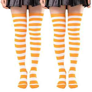 2 Pairs Thigh High Socks for Women Striped Knit Over the Knee High Stockings Long Tube Leg Warmers Orange White