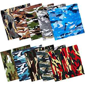10 Pieces 18.9 x 18.9 Inch Camouflage Print Cotton Fabric Camo Precut Fat Quarter Quilting Sewing Patchwork Handmade Camouflage Craft Fabric Cloth for DIY Handicrafts Supplies