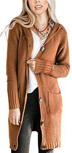 NENONA Women's Open Front Chunky Knit Hooded Cardigan Sweater Long Sleeve Button Down Outwear with Pockets(Brown-L)