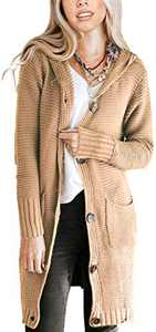 NENONA Women's Open Front Chunky Knit Hooded Cardigan Sweater Long Sleeve Button Down Outwear with Pockets(Khaki-S)
