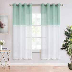 BGment Color Block Sheer Curtains for Living Room - Faux Linen Grommet Light Filtering Semi Sheer Window Curtain Panels for Bedroom, Set of 2 Panels ( Each 52 x 63 Inch, Bean Green )