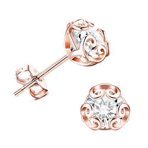 Sllaiss Sterling Silver Cubic Zirconia Stud Earrings for Women Rose Gold Plated Stud Whited Gold Plated Fine Jewelry Stones 6MM CZ Stud Earrings Rose Gold
