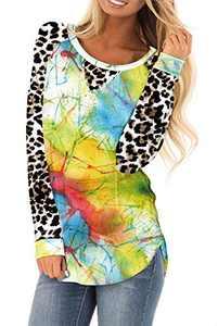 AMCLOS Womens Tie Dye Tops Casual Blouses Basic Shirt Tunic Leopard Long Sleeve (F-61,2XL)