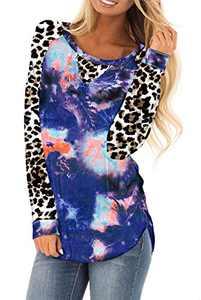 AMCLOS Womens Tie Dye Tops Casual Blouses Basic Shirt Tunic Leopard Long Sleeve (F-53,S)