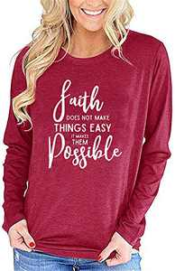 Bwogeeya Womens Long Sleeve Faith T Shirt Letter Print Crew Neck Cotton Loose Casual Blouses Tops (Red,Medium)