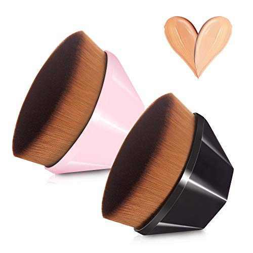 EKAKER 2 PCS Flawless Foundation Makeup Brush,Kabuki Hexagon Face Brush,Petal-Shaped Makeup Brush for Blending Liquid, Cream or Flawless Powder Cosmetics with Protective Case(Black & Pink)