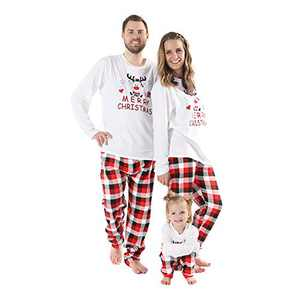 WISREMT Christmas Pajamas for Family, Holiday Funny Cute Matching Family Christmas Pajamas Sets (X-Large, Women)