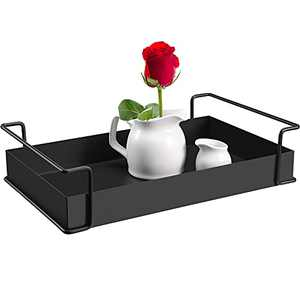 YURONG 1-Tier Decorative Coffee Table Tray, Iron Tray with Handles, Vanity Tray and Serving Tray for Bathroom, Kitchen, Ottoman, Dressing table and Coffee table, 13.4 X 8.3 X 3.2 inches(1-Pack, Black)