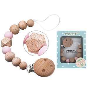 Pacifier Clip Holder Woman Moms Handmade 1 Pack (Beech Wood)