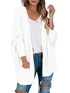 Boncasa Batwing Sleeve Chunky Knit Sweater Popcorn Open Front Long Cardigans for Women with Pockets White 2BC30-baise-L