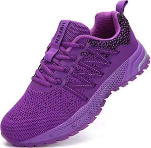 UBFEN Running Shoes for Mens Womens Sports Shoes Casual Footwear Walking Fitness Jogging Athletic Indoor Outdoor Fashion Sneakers 8.5 Women/7 Men C Purple